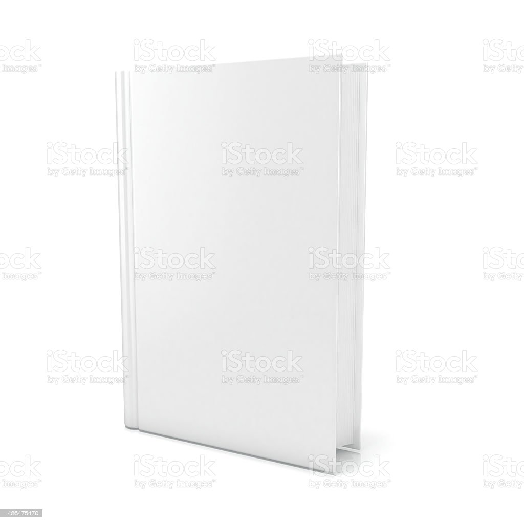 Blank book cover over white background. 3D render stock photo