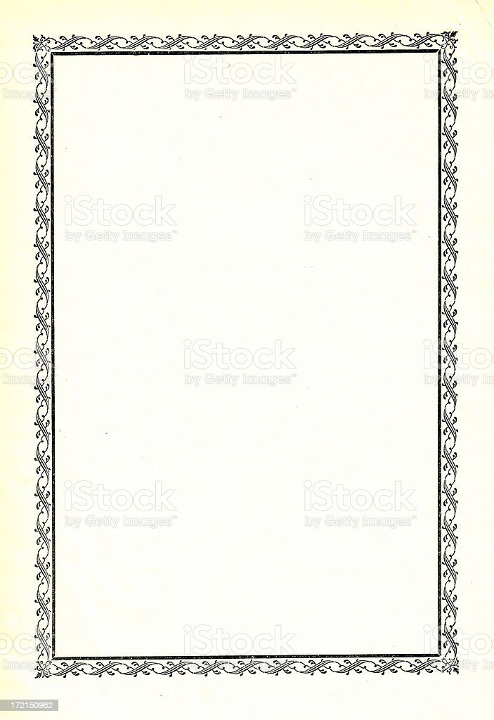 Blank book page with ornate borders stock photo
