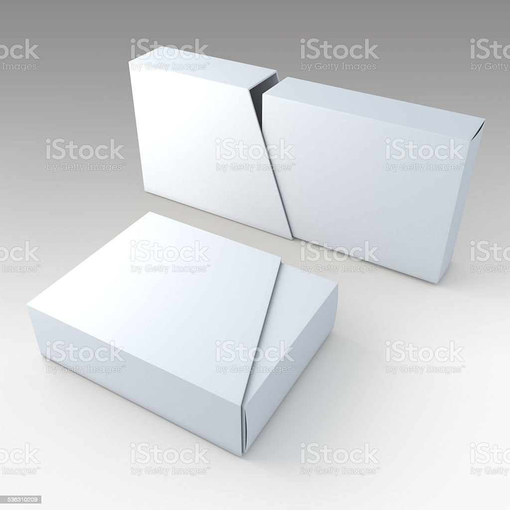 blank box and blank slide trapezoid cover in isolated vector art illustration