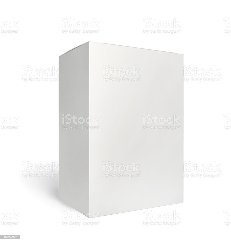 Blank box on white with clipping path stock photo