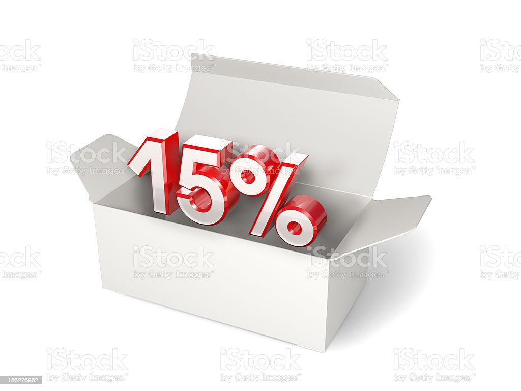Blank box with 15% discount sign. Sale concept stock photo