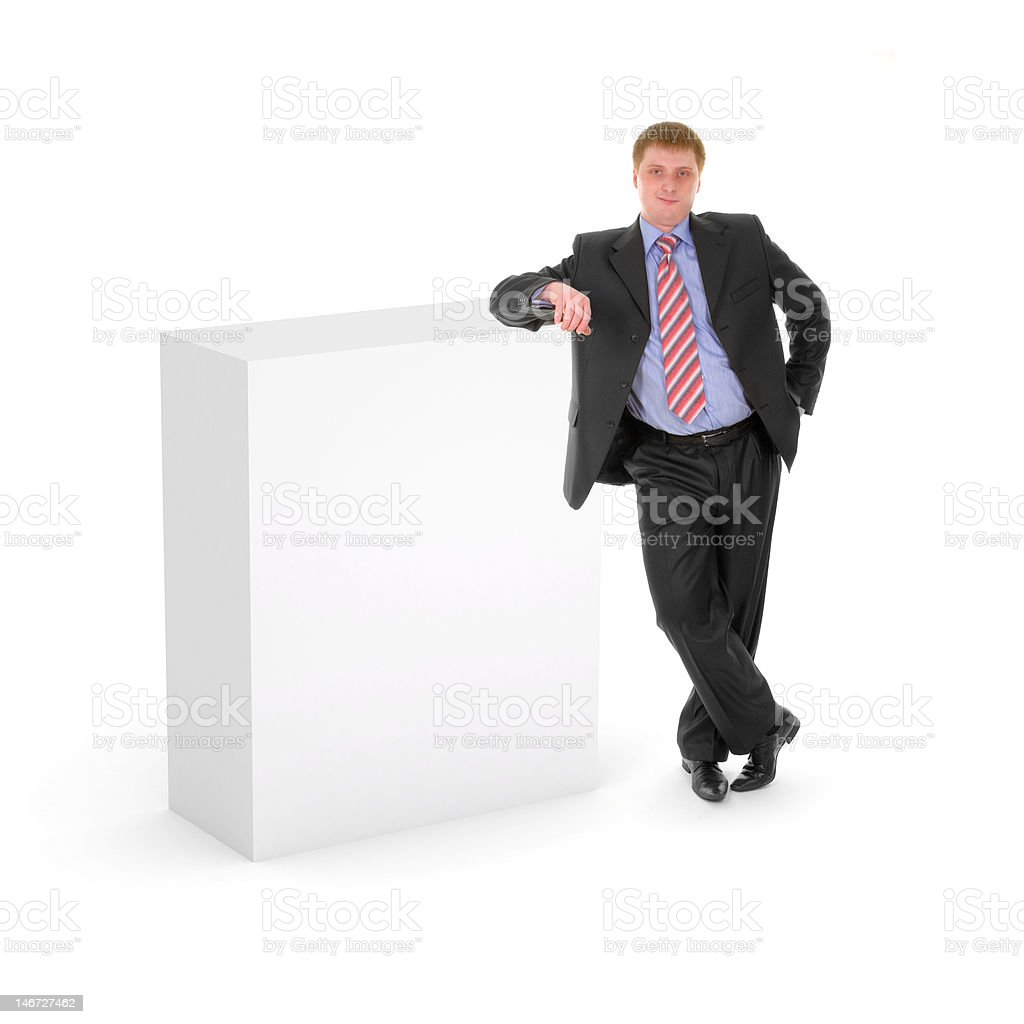 Blank box with business man royalty-free stock photo
