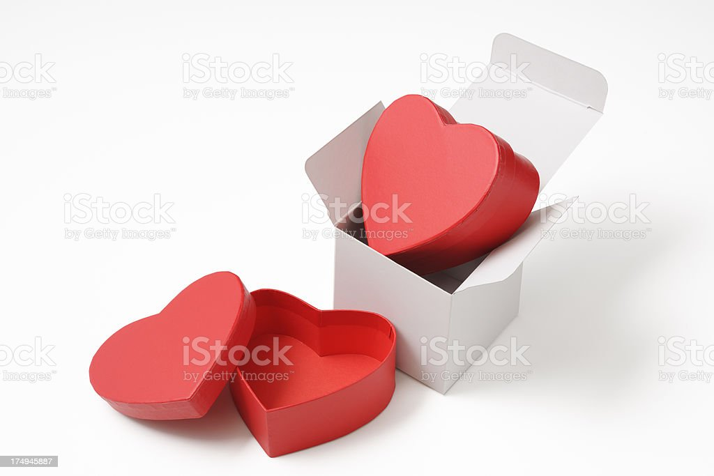 Blank box with red heart shape box on white background royalty-free stock photo
