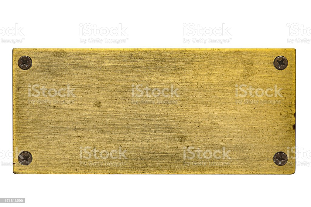 Blank Brass Nameplate with Screws stock photo