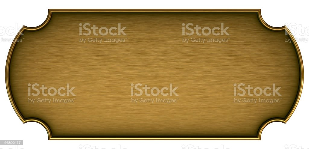 Blank brass plaque on a white background stock photo