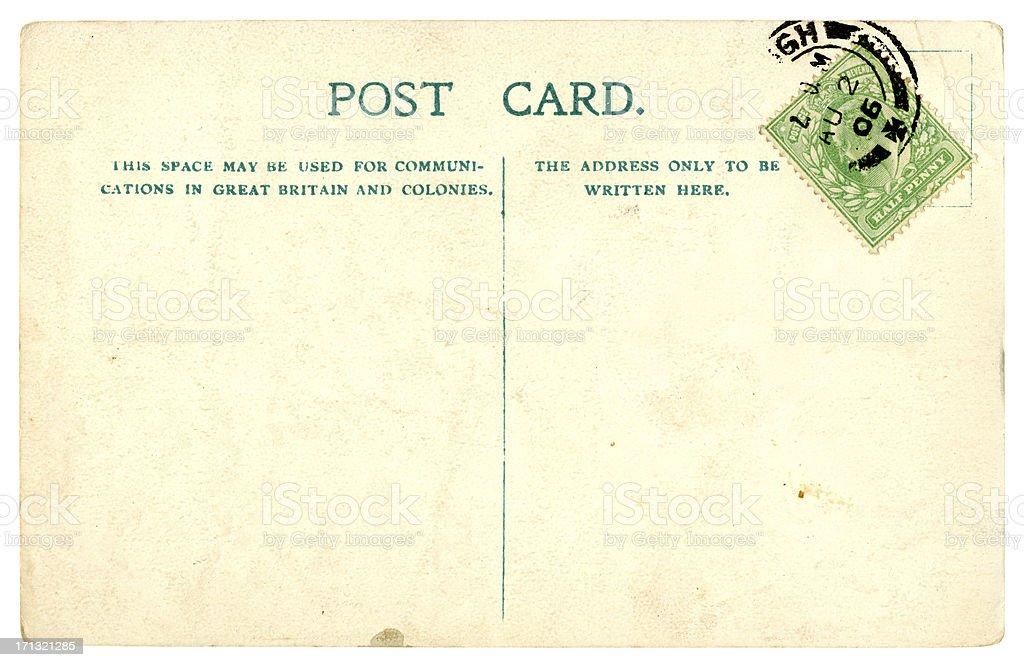 Blank British Edwardian postcard, 1906 stock photo