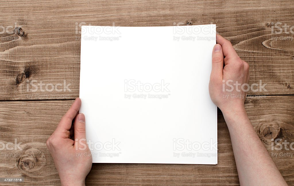 Blank brochure from above stock photo