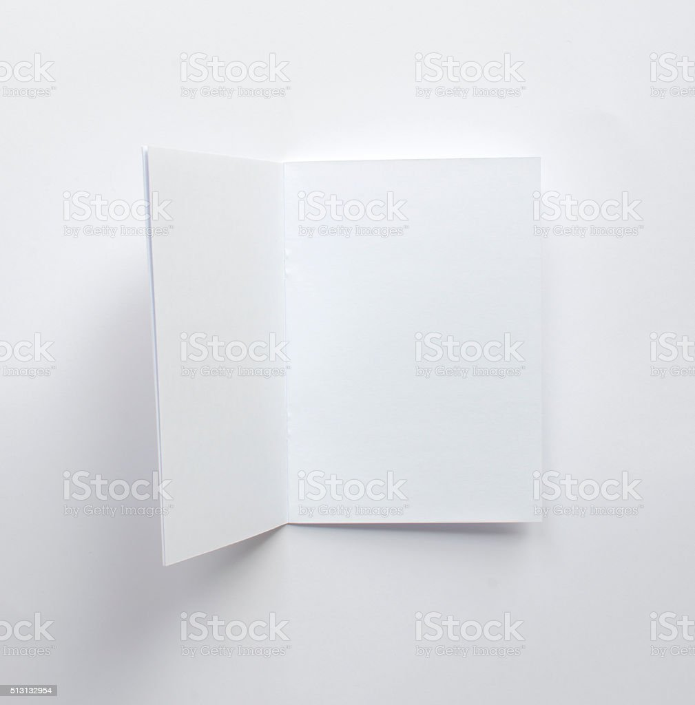 Blank brochure from above with copy space stock photo