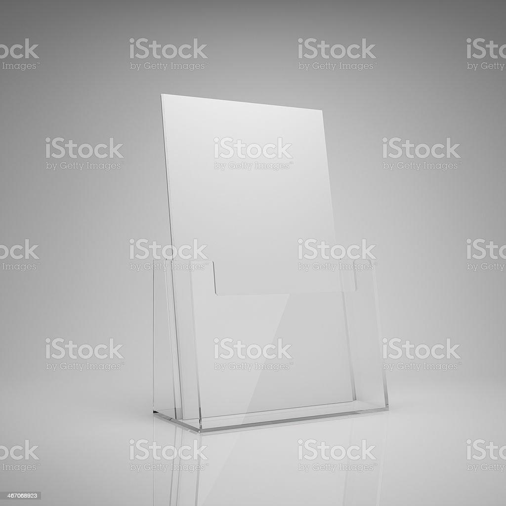 Blank brochure holder stock photo