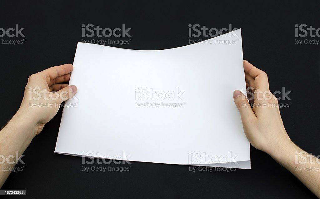 Blank brochure on black royalty-free stock photo