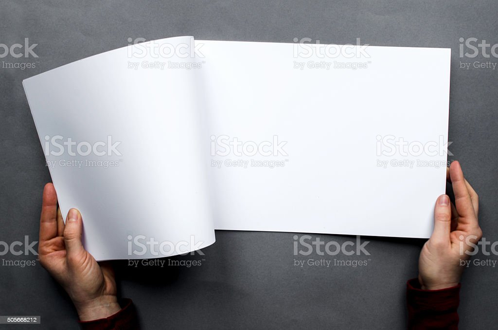 Blank brochure seen from above stock photo