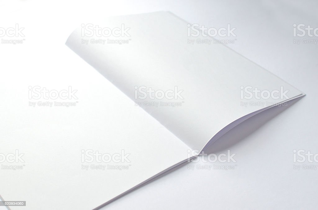 Blank brochure with copy space on white stock photo