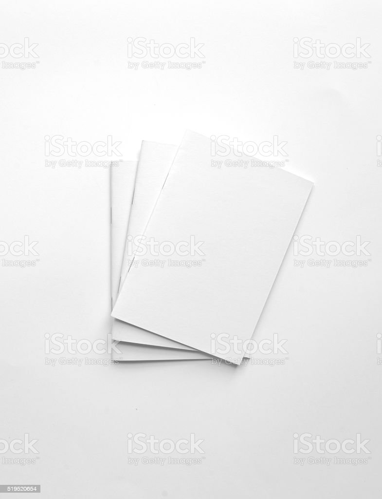 Blank brochures isolated on white background stock photo
