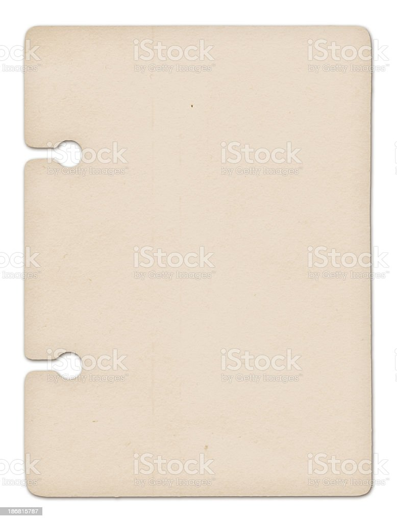 A blank brown filing card with two holes stock photo