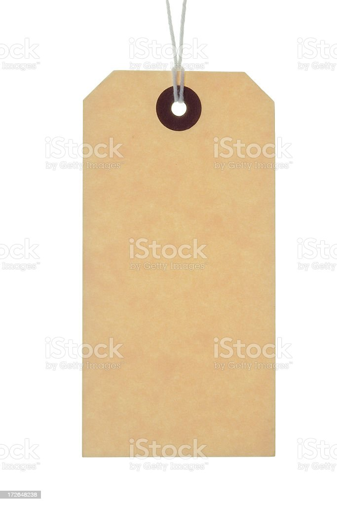 A blank brown label hung by a string stock photo