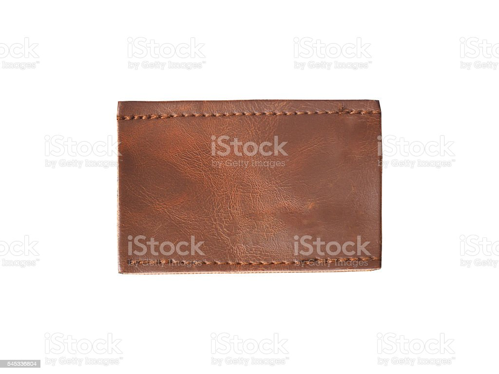 blank brown leather jean label stock photo