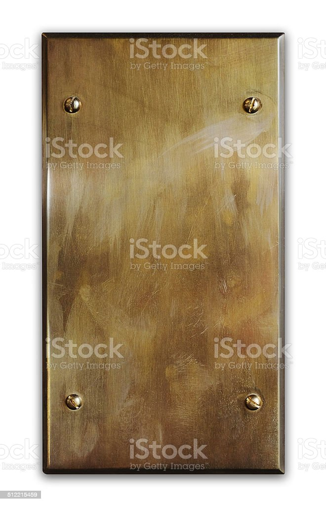 Blank brushed metal plaque (Clipping Path) stock photo