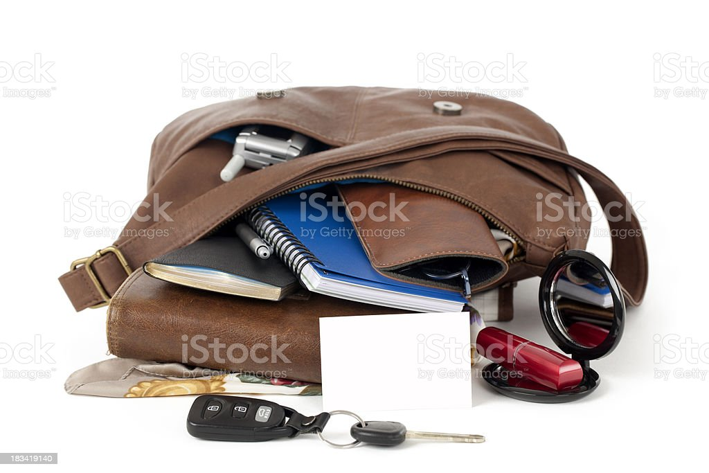 Blank Business Card and  Purse Spilling Contents royalty-free stock photo