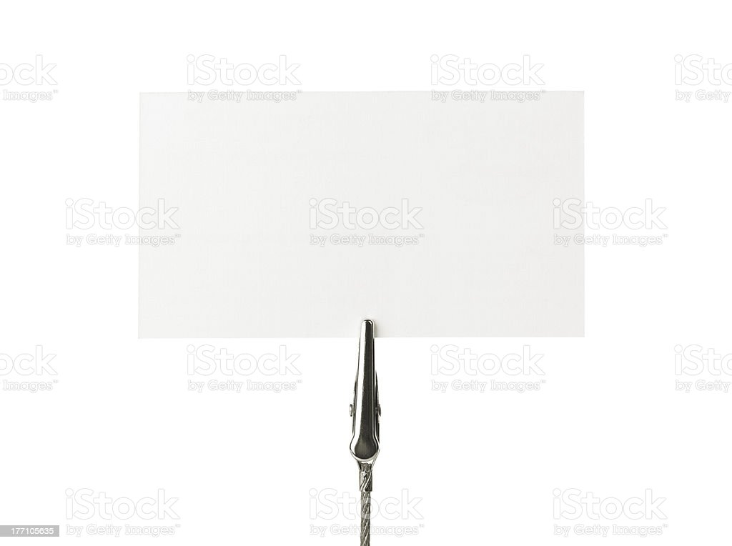 Blank business card isolated on white stock photo