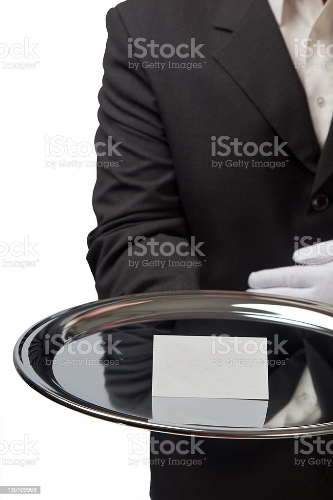 Blank business card on silver tray royalty-free stock photo