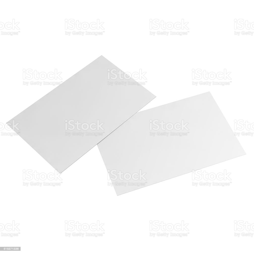 blank business card on white background stock photo