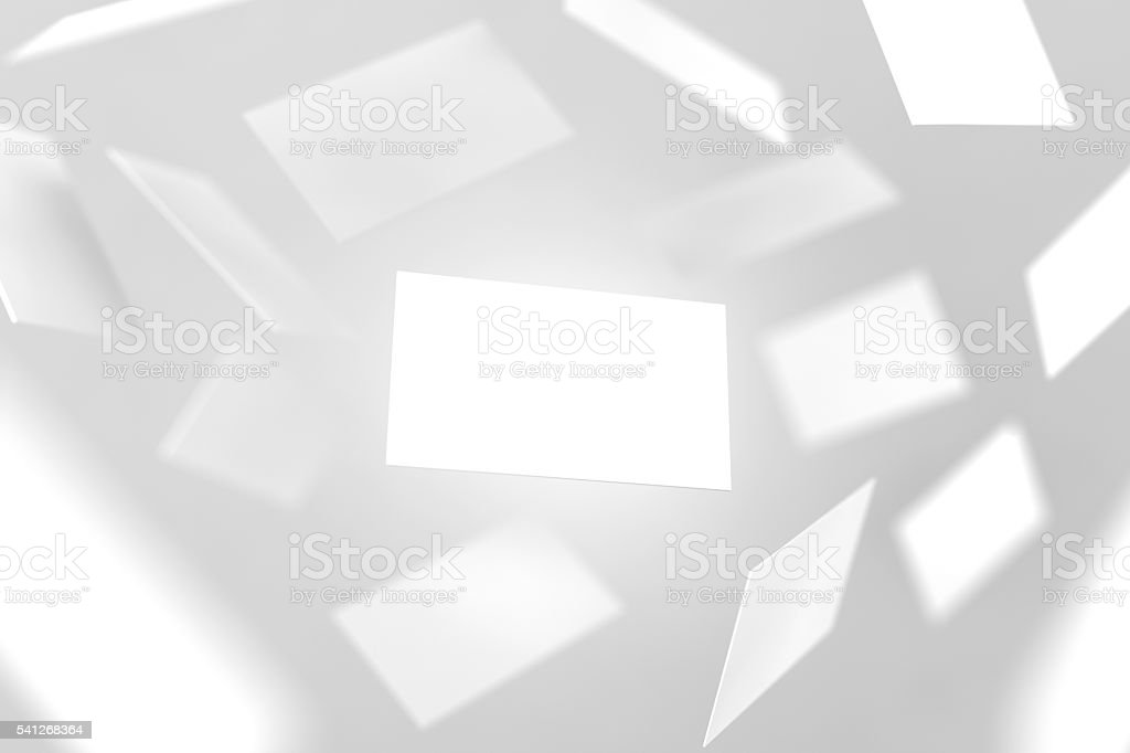 Blank business cards falling, 3d rendering stock photo