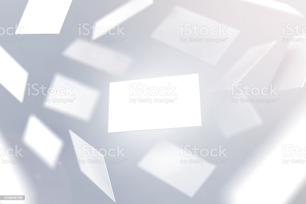 Blank business cards falling design mockup stock photo