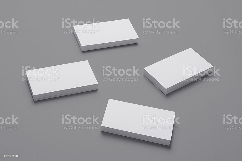 Blank Business Cards isolated on grey background royalty-free stock photo