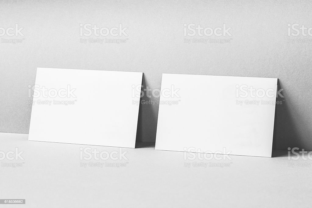 Blank Business Cards Mockup stock photo