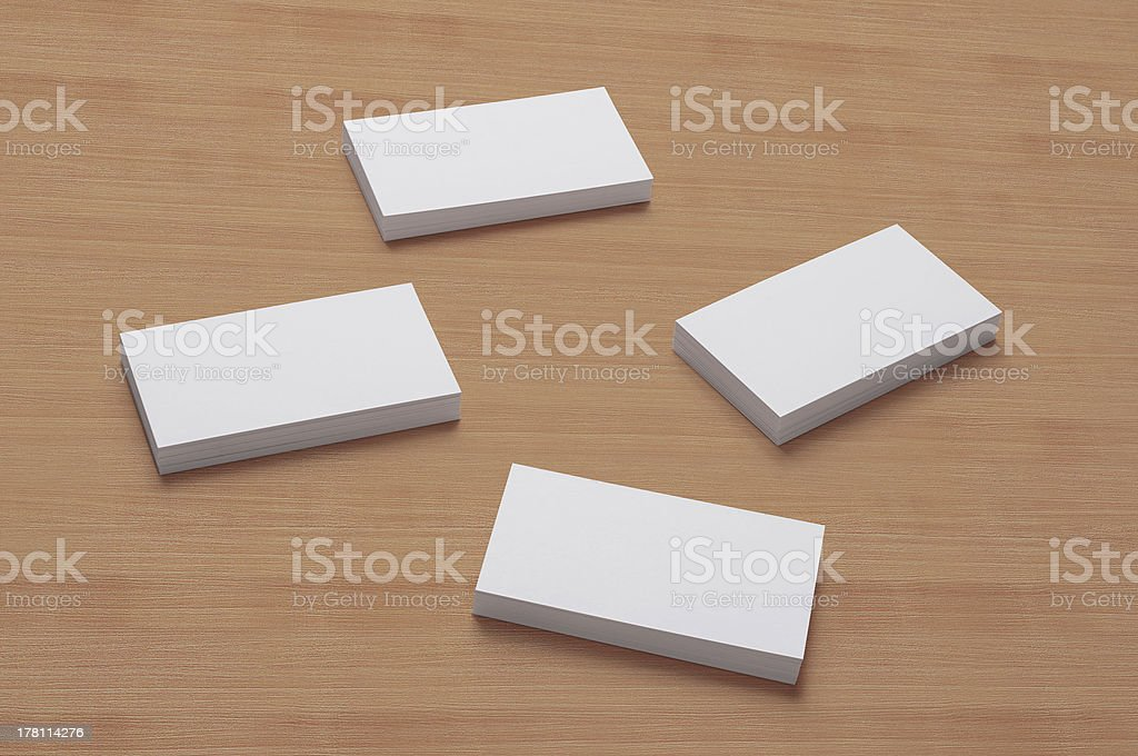 Blank Business Cards on wooden background stock photo