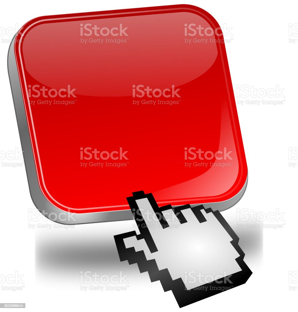 blank Button with cursor - 3D illustration stock photo