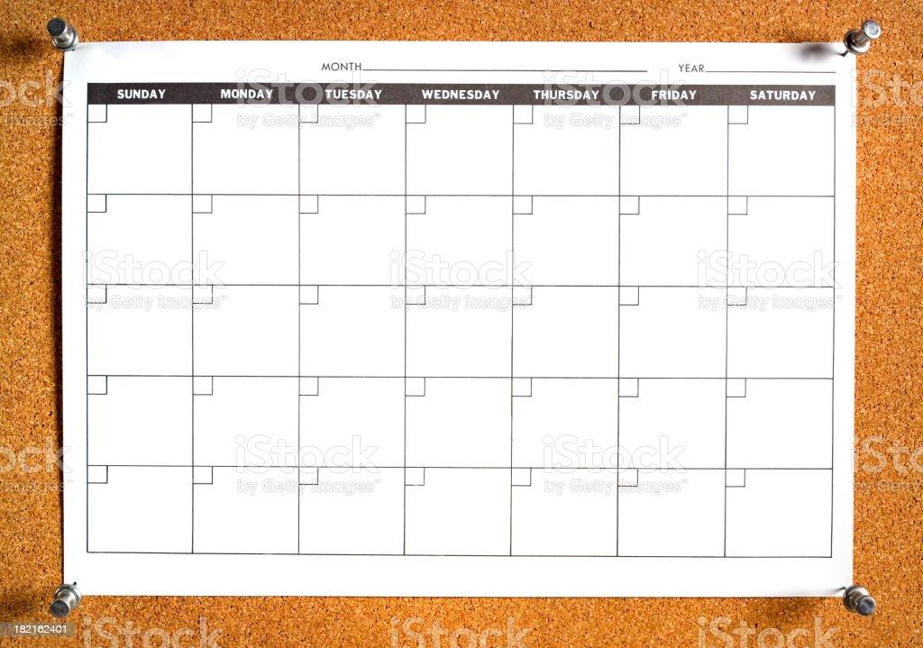 blank calendar on bulletin board royalty-free stock photo