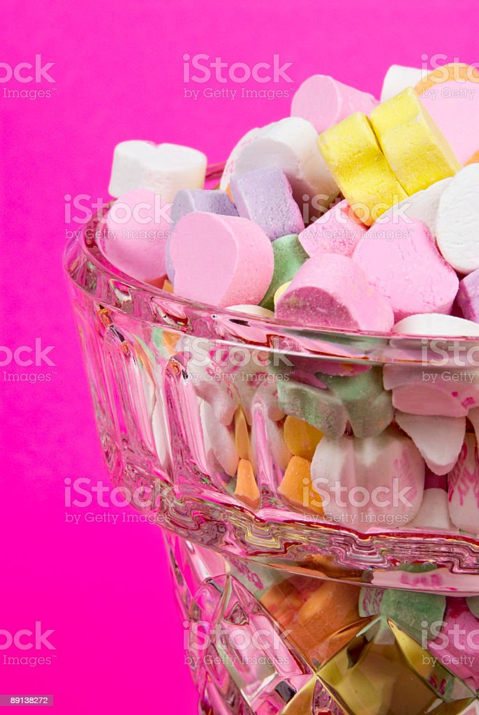 blank candy hearts in see through glass with pink background royalty-free stock photo