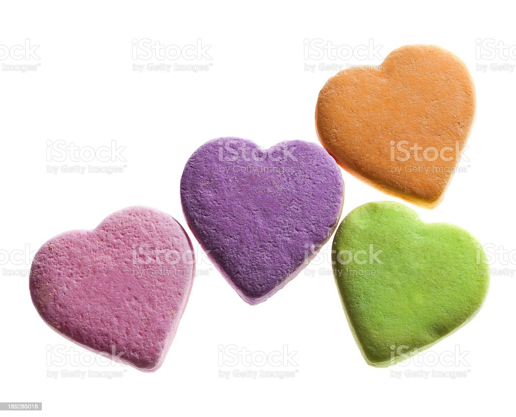 Blank Candy Hearts on White stock photo