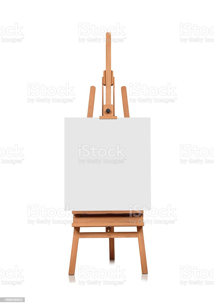 blank canvas on a wooden easel stock photo