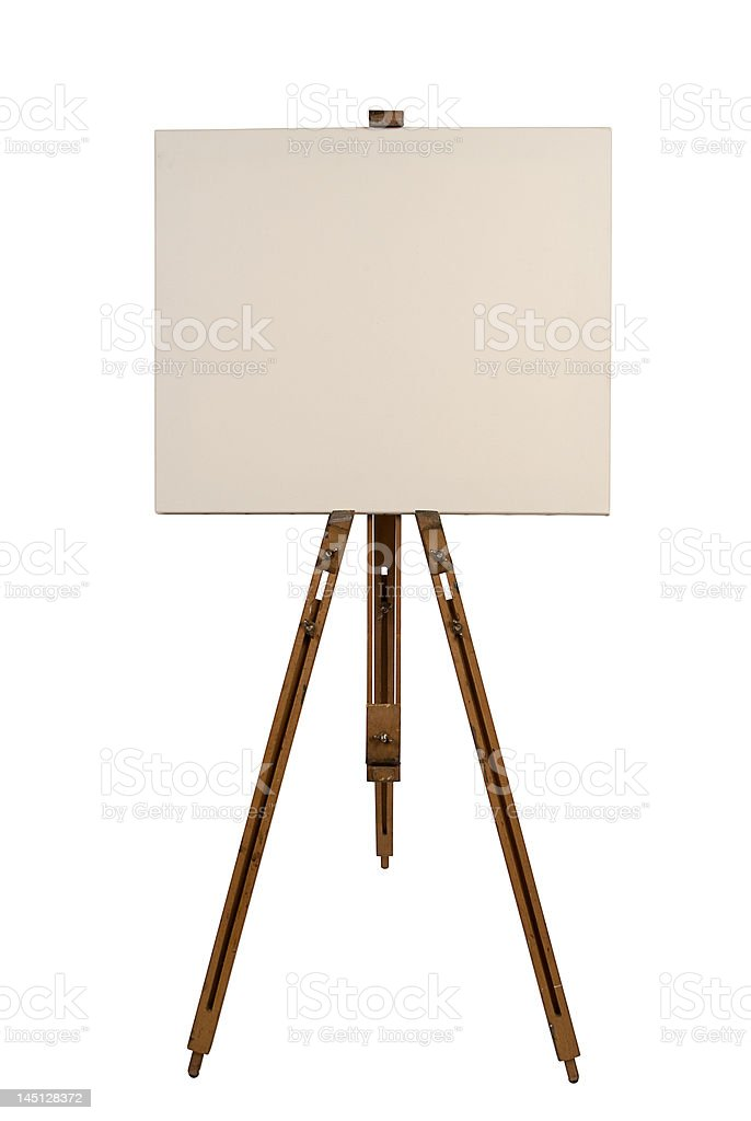Blank canvas on an easel royalty-free stock photo