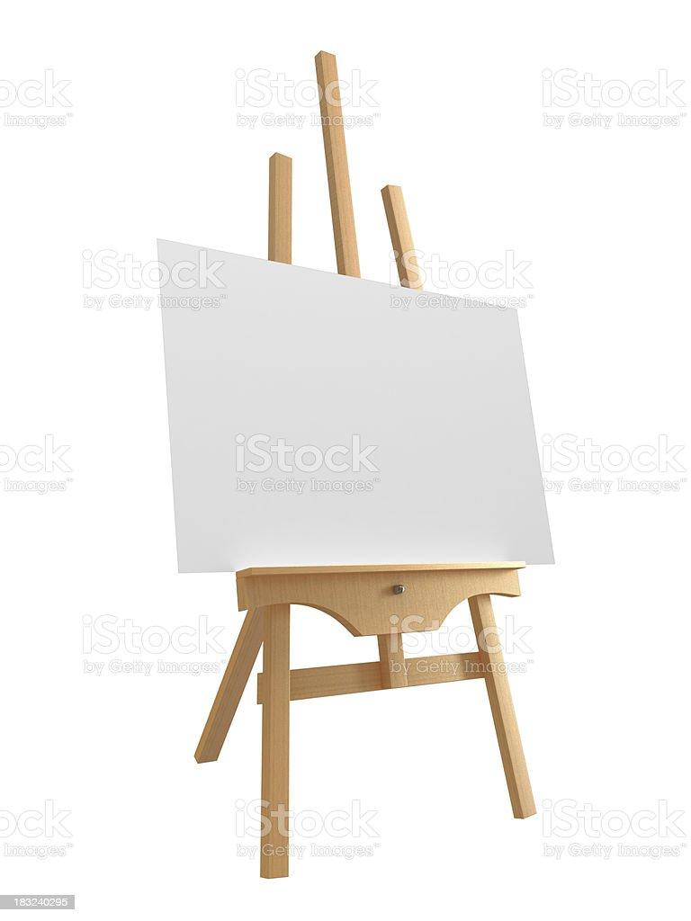 Blank canvas on large wooden easel stock photo