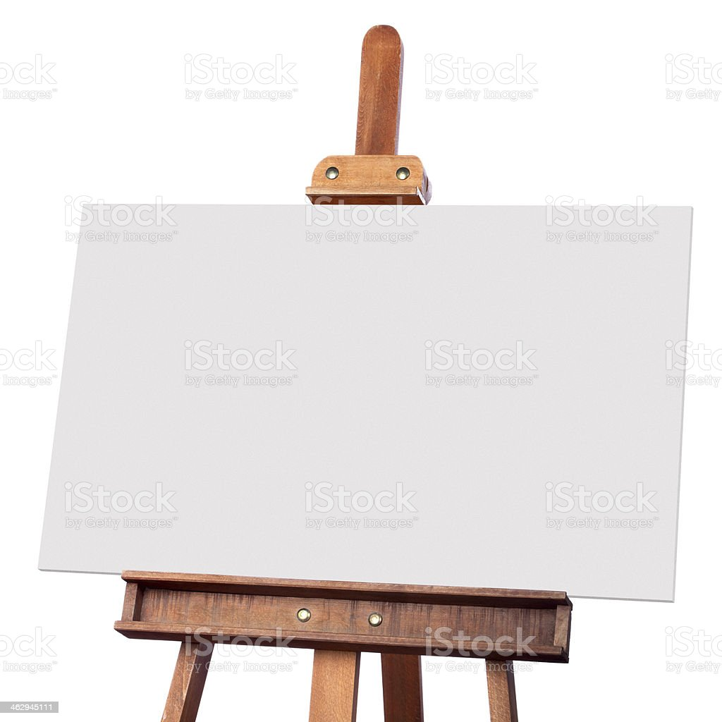 Blank canvas on wooden easel stock photo