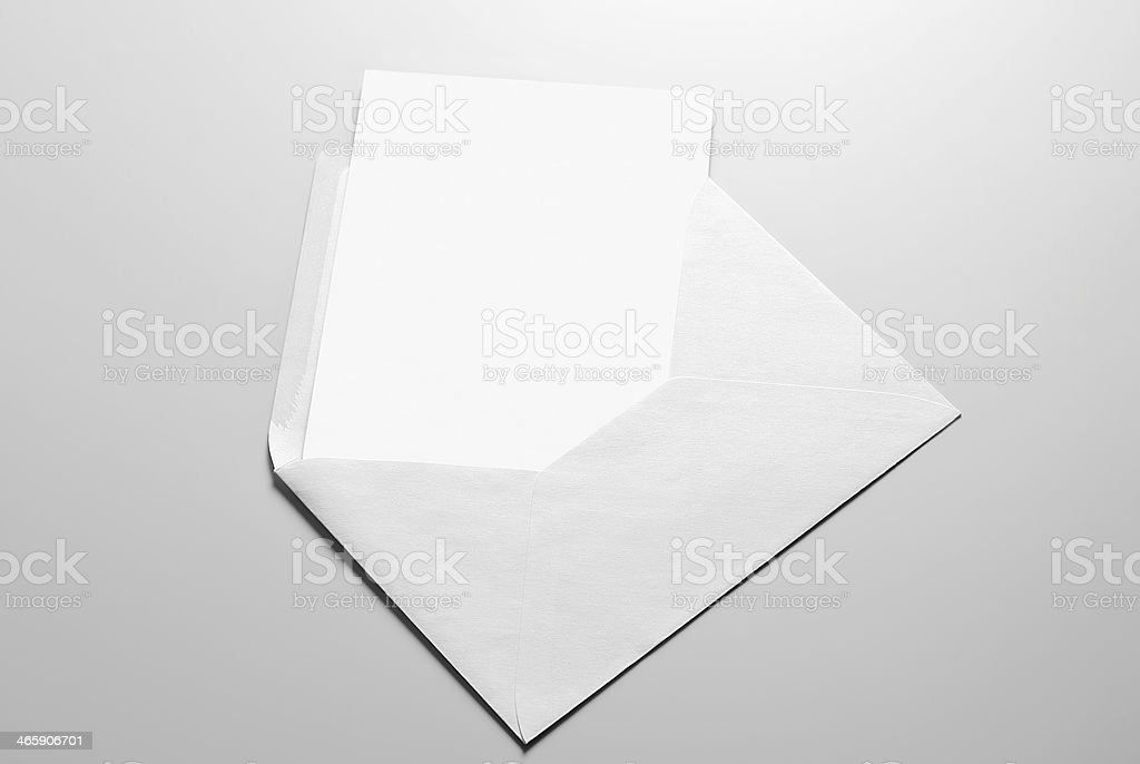 Blank card and envelope stock photo