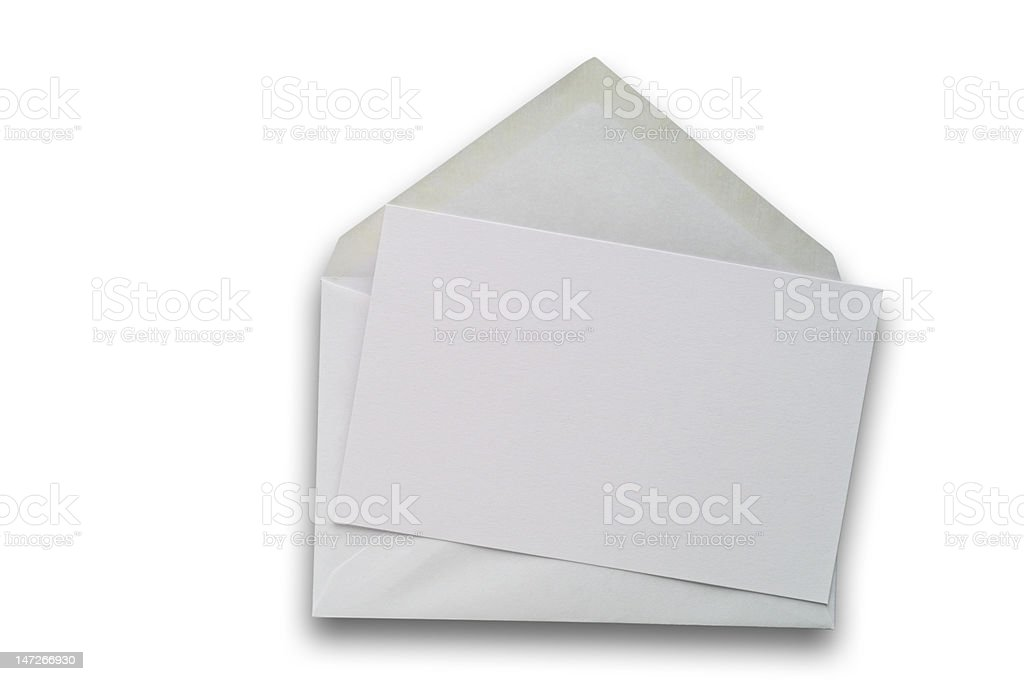 Blank card and envelope with clipping path royalty-free stock photo
