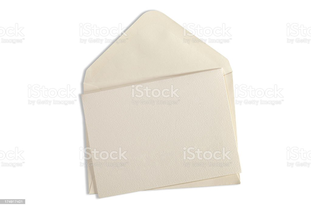 Blank Card and Evelope Isolated with Clipping Path stock photo