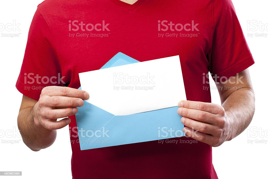 Blank card in envelope royalty-free stock photo
