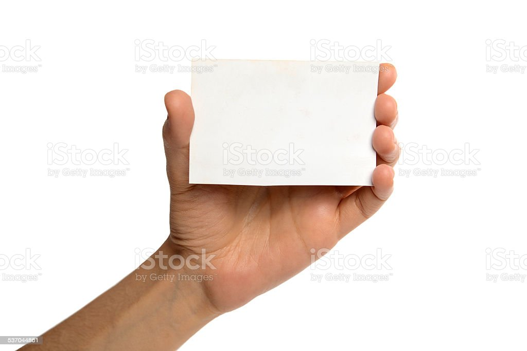 Blank card in female hand on white stock photo