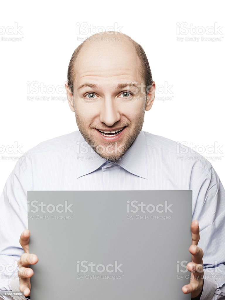 Blank card in hand stock photo