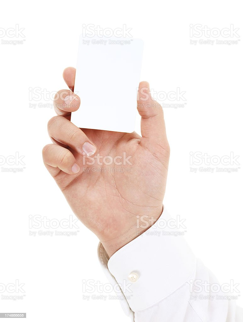 Blank card in male hand on white background stock photo