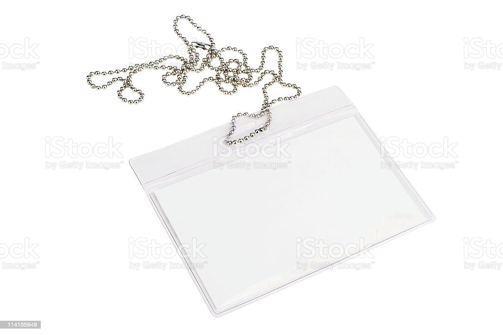 Blank Card In Pass Holder With Chain royalty-free stock photo