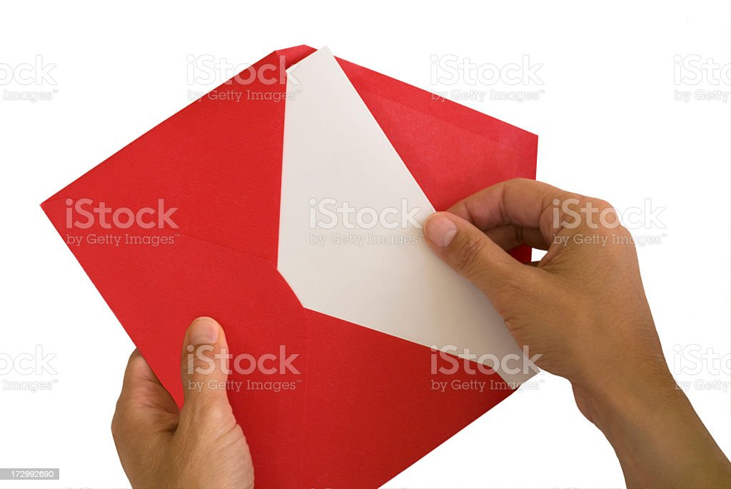 Blank Card in Red Envelope Isolated on White stock photo