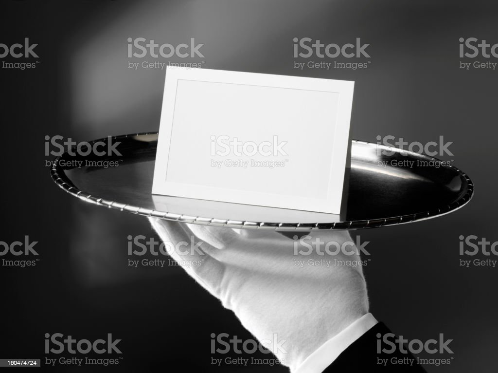 Blank Card on a Silver Tray stock photo