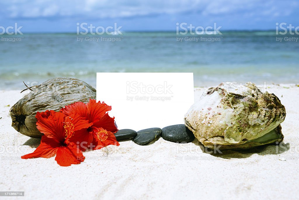 Blank Card with Beach Background stock photo