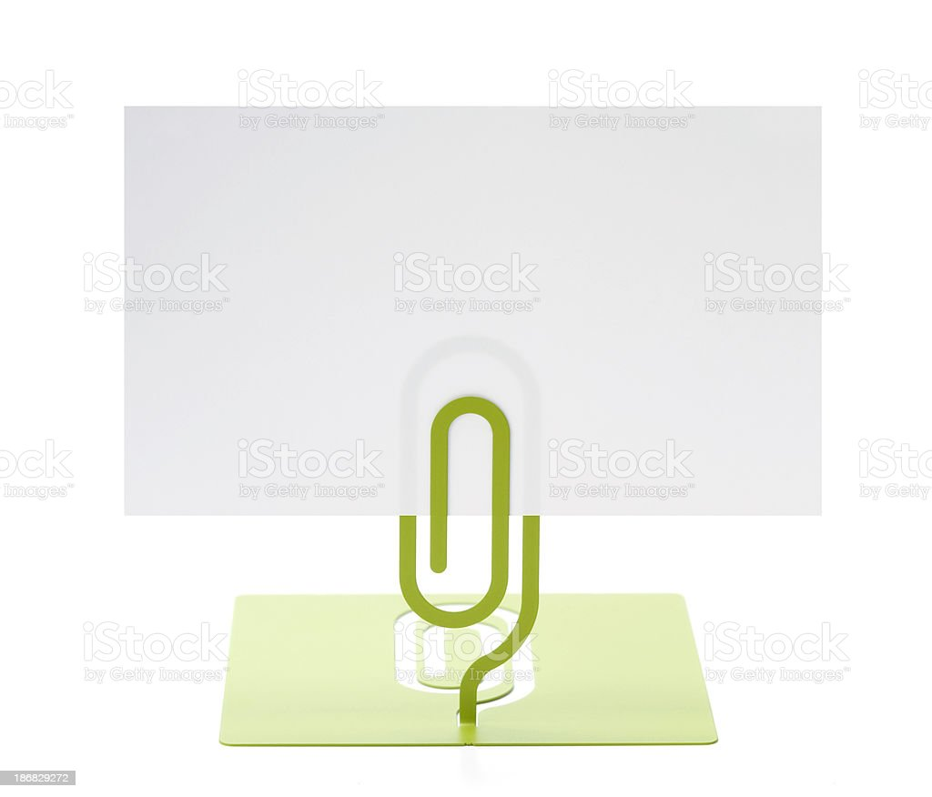 Blank card with paper clip royalty-free stock photo